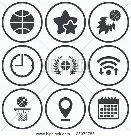 Clock, wifi and stars icons. Basketball sport icons. Ball with basket and fireball signs. Laurel wreath symbol. Calendar symbol.