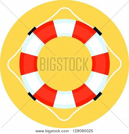 Security Service, Life Buoy Flat Style, Colorful, Vector Icon For Info Graphics, Websites, Mobile An
