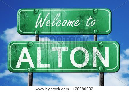 alton vintage green road sign with blue sky background