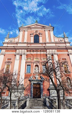 Franciscan Church in downtown of Ljubljana. Ljubljana Slovenia