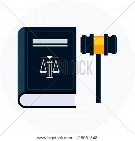 Law, Court Theme, Flat Style, Colorful, Vector Icon