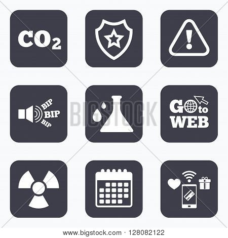 Mobile payments, wifi and calendar icons. Attention and radiation icons. Chemistry flask sign. CO2 carbon dioxide symbol. Go to web symbol.
