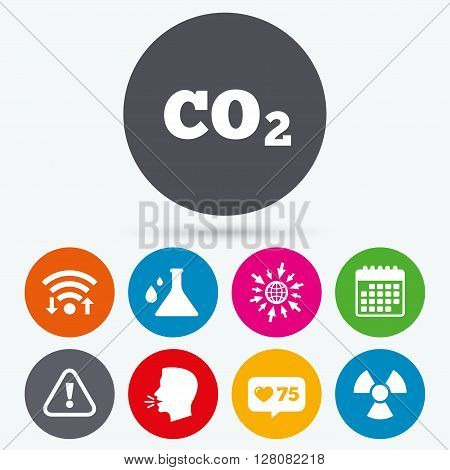 Wifi, like counter and calendar icons. Attention and radiation icons. Chemistry flask sign. CO2 carbon dioxide symbol. Human talk, go to web.