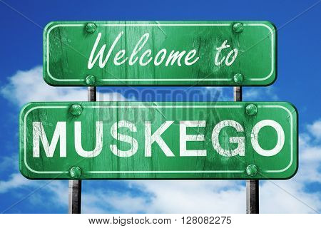 muskego vintage green road sign with blue sky background