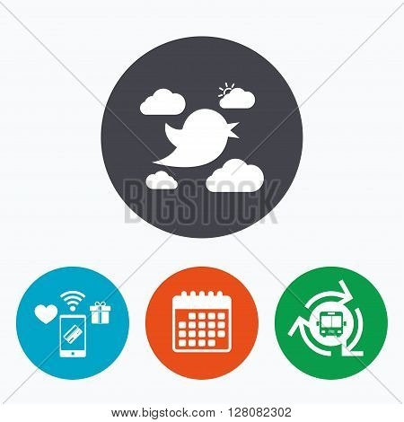 Bird icon. Social media sign. Short messages symbol. Clouds with sun. Mobile payments, calendar and wifi icons. Bus shuttle.