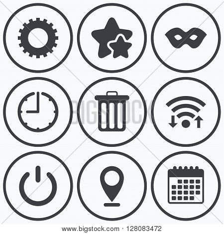 Clock, wifi and stars icons. Anonymous mask and cogwheel gear icons. Recycle bin delete and power sign symbols. Calendar symbol.