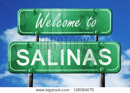 salinas vintage green road sign with blue sky background