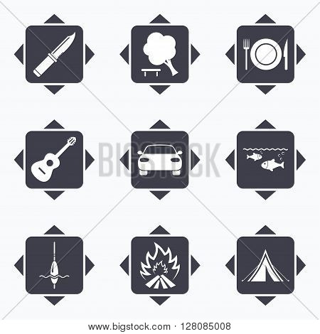 Icons with direction arrows. Hike trip, camping icons. Fishing, campfire and tourist tent signs. Guitar music, knife and food symbols. Square buttons.