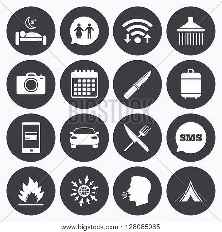 Wifi, calendar and mobile payments. Hiking trip icons. Camping, shower and wc toilet signs. Tourist tent, fork and knife symbols. Sms speech bubble, go to web symbols.