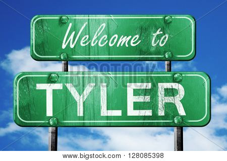 tyler vintage green road sign with blue sky background