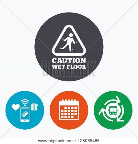 Caution wet floor sign icon. Human falling triangle symbol. Mobile payments, calendar and wifi icons. Bus shuttle.