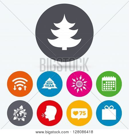 Wifi, like counter and calendar icons. Happy new year icon. Christmas trees and gift box signs. World globe symbol. Human talk, go to web.
