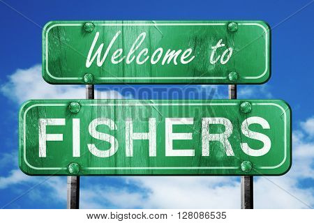 fishers vintage green road sign with blue sky background