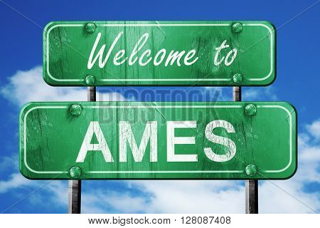 ames vintage green road sign with blue sky background