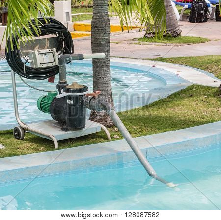 Closeup view of old technology electrical pump for cleaning swimming pool