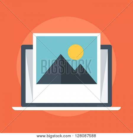 Photo Flat Style, Colorful, Vector Icon