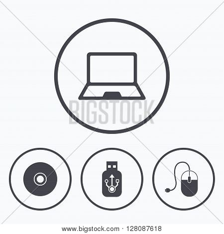 Notebook pc and Usb flash drive stick icons. Computer mouse and CD or DVD sign symbols. Icons in circles.