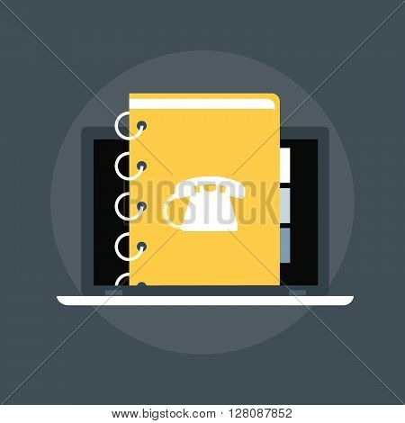 Contact List Flat Style, Colorful, Vector Icon