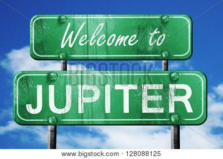 jupiter vintage green road sign with blue sky background