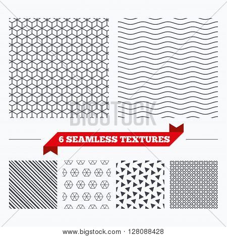 Diagonal lines, waves and geometry design. Cubes lines texture. Stripped geometric seamless pattern. Modern repeating stylish texture. Material patterns.