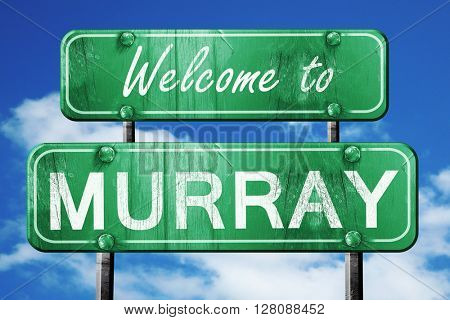 murray vintage green road sign with blue sky background