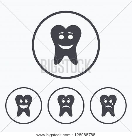 Tooth happy, sad and crying faces icons. Dental care signs. Healthy or unhealthy teeth symbols. Icons in circles.