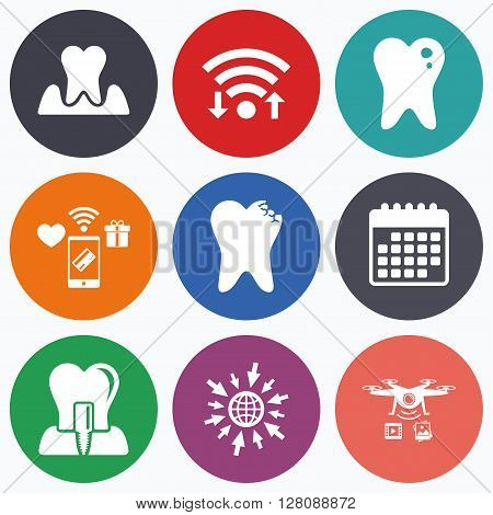 Wifi, mobile payments and drones icons. Dental care icons. Caries tooth sign. Tooth endosseous implant symbol. Parodontosis gingivitis sign. Calendar symbol.