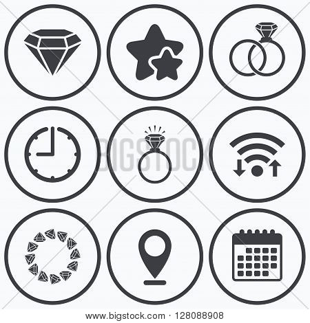 Clock, wifi and stars icons. Rings icons. Jewelry with shine diamond signs. Wedding or engagement symbols. Calendar symbol.