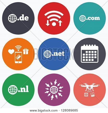 Wifi, mobile payments and drones icons. Top-level internet domain icons. De, Com, Net and Nl symbols with globe. Unique national DNS names. Calendar symbol.