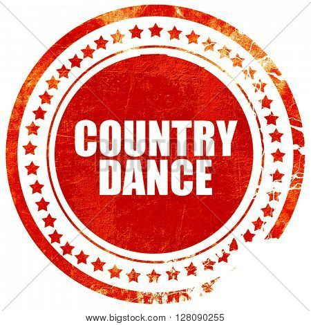country dance, grunge red rubber stamp with rough lines and edge