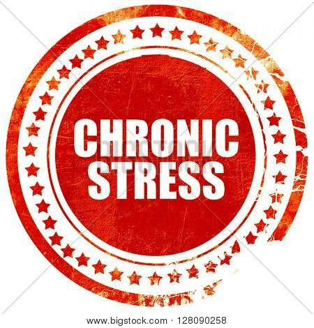 crhonic stress, grunge red rubber stamp with rough lines and edg