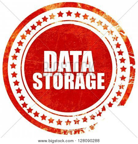 data storage, grunge red rubber stamp with rough lines and edges