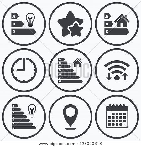 Clock, wifi and stars icons. Energy efficiency icons. Lamp bulb and house building sign symbols. Calendar symbol.