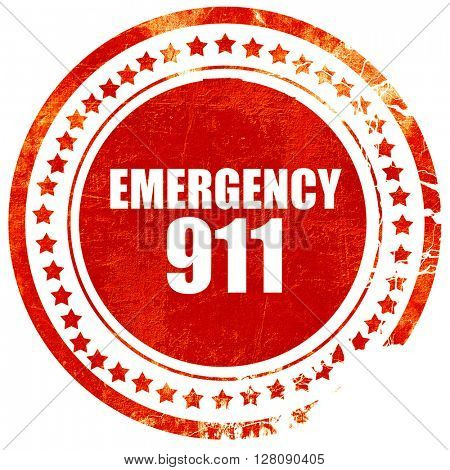emergency 911, grunge red rubber stamp with rough lines and edge
