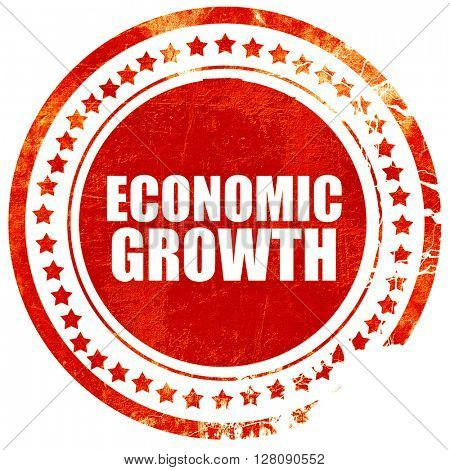 economic growth, grunge red rubber stamp with rough lines and ed