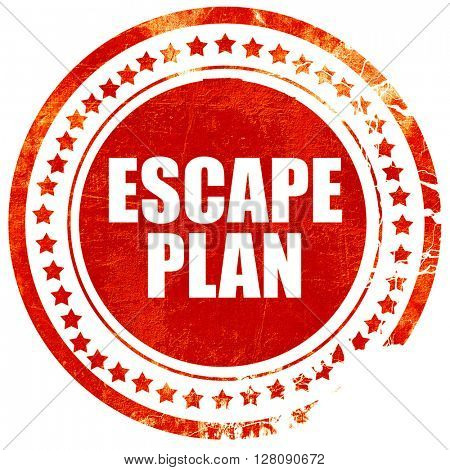 escape plan, grunge red rubber stamp with rough lines and edges
