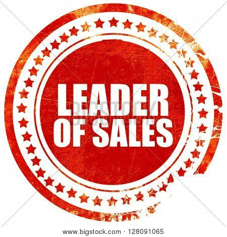 leader of sales, grunge red rubber stamp with rough lines and ed