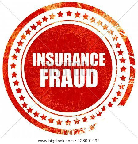 insurance fraud, grunge red rubber stamp with rough lines and ed