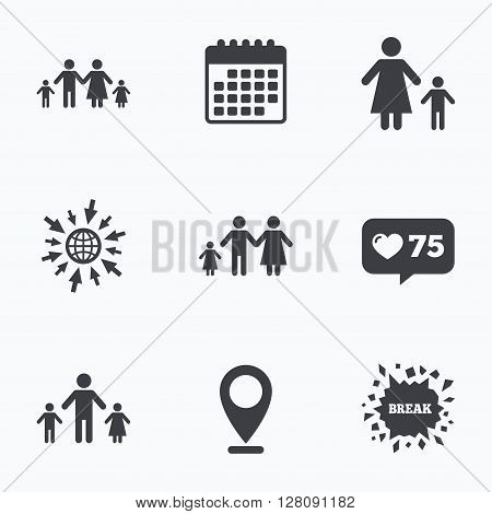 Calendar, like counter and go to web icons. Family with two children icon. Parents and kids symbols. One-parent family signs. Mother and father divorce. Location pointer.