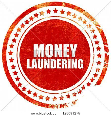 money laundering, grunge red rubber stamp with rough lines and e