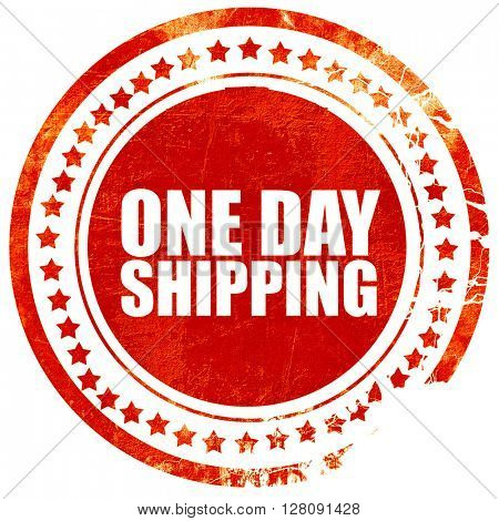 one day shipping, grunge red rubber stamp with rough lines and e