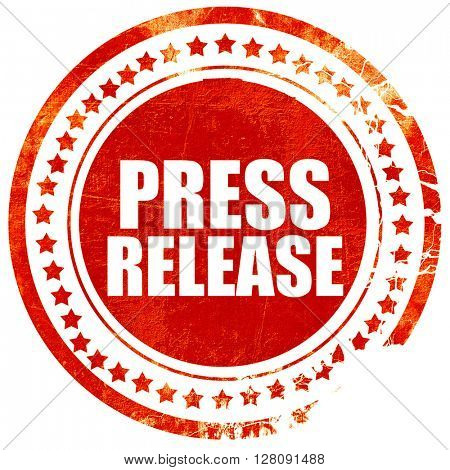 press release, grunge red rubber stamp with rough lines and edge