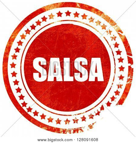 salsa dance, grunge red rubber stamp with rough lines and edges