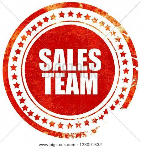 sales team, grunge red rubber stamp with rough lines and edges