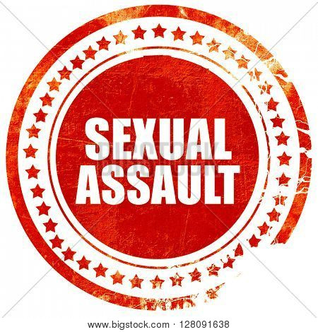 sexual assault, grunge red rubber stamp with rough lines and edg