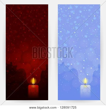 Set of red and blue festive backgrounds with candlelights