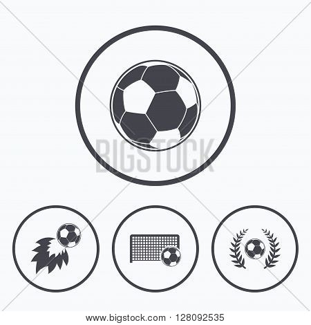 Football icons. Soccer ball sport sign. Goalkeeper gate symbol. Winner award laurel wreath. Goalscorer fireball. Icons in circles.