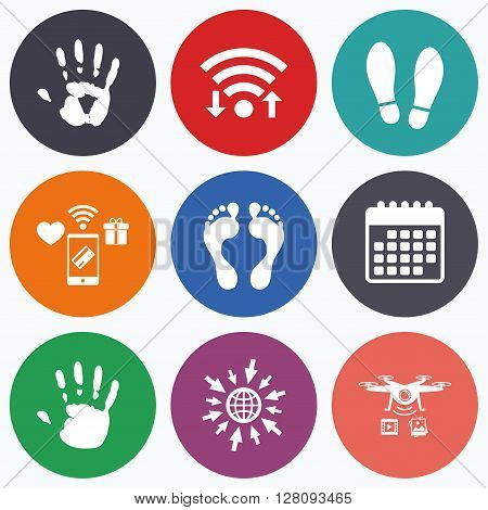 Wifi, mobile payments and drones icons. Hand and foot print icons. Imprint shoes and barefoot symbols. Stop do not enter sign. Calendar symbol.