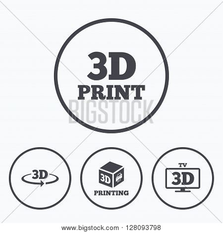 3d technology icons. Printer, rotation arrow sign symbols. Print cube. Icons in circles.