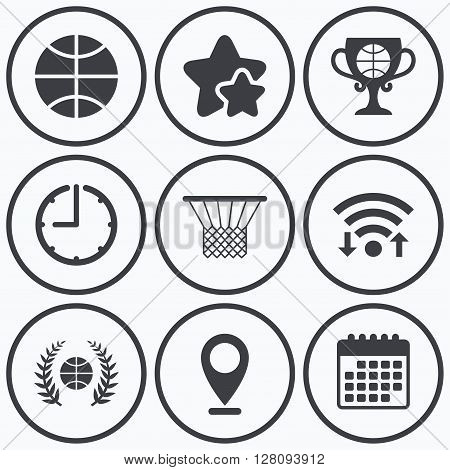 Clock, wifi and stars icons. Basketball sport icons. Ball with basket and award cup signs. Laurel wreath symbol. Calendar symbol.